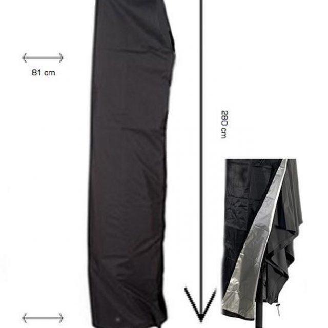 (Zweef) Parasolhoes 280 cm / Beschermhoes Parasol / Afdekhoes Parasol met rits Zwart / 280x81x30x45