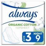 Always Maandverband Bio Cotton Protection Ultra Night met Vleugels 9 stuks